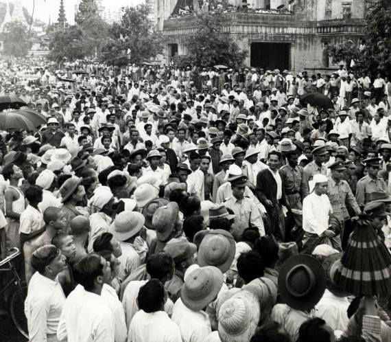 U Aung San Leading a Demonstration in 1947