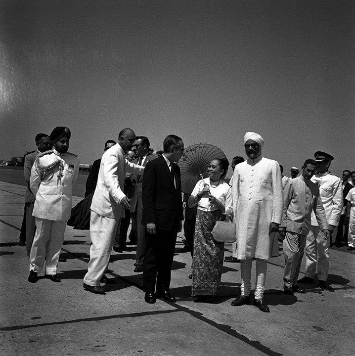 U Thant Meeting Daw Khin Kyi at Delhi Airport 1966