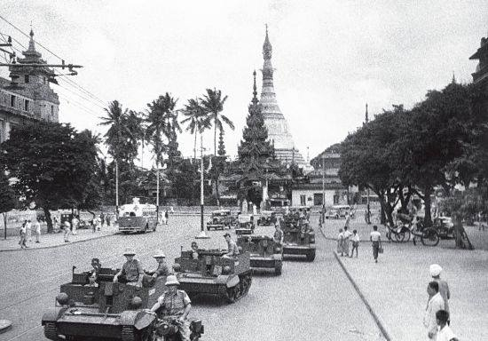 Bren Gun Carriers Patrol Downtown Rangoon