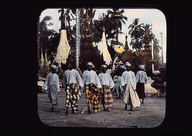 Burmese men in traditional pasos