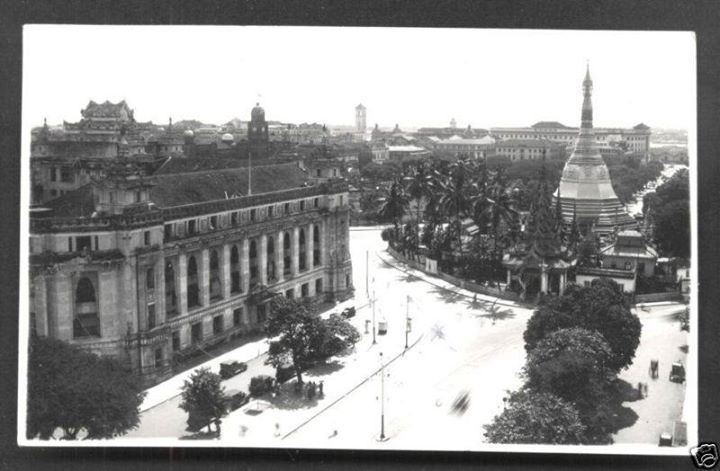 The view down Sule Pagoda Road in 1939.