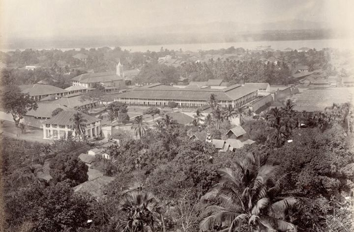 Moulmein c.1895 with (I think) St Patrick's School in the foreground.