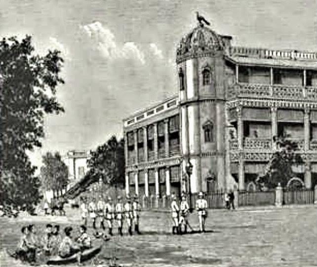 ၁၈၈၀ ပြည့်နှစ် နှောင်းပိုင်း ဈေးချိုတော်ဟောင်းအနီး မန္တလေးမြို့တွင်း တစ်နေရာကို ရေးဆွဲထားသည့် ပန်းချီကား။