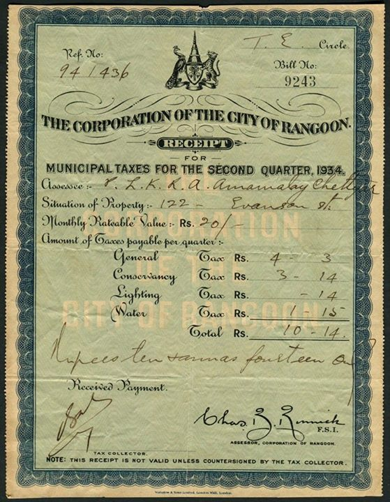 A Rangoon municipal tax receipt c. 1930s