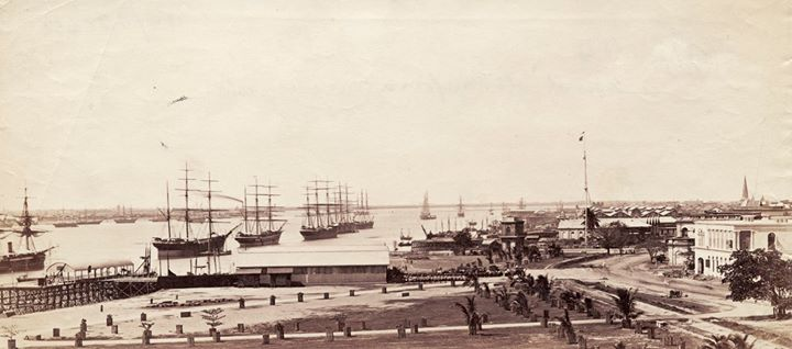 The Rangoon waterfront c. 1875.