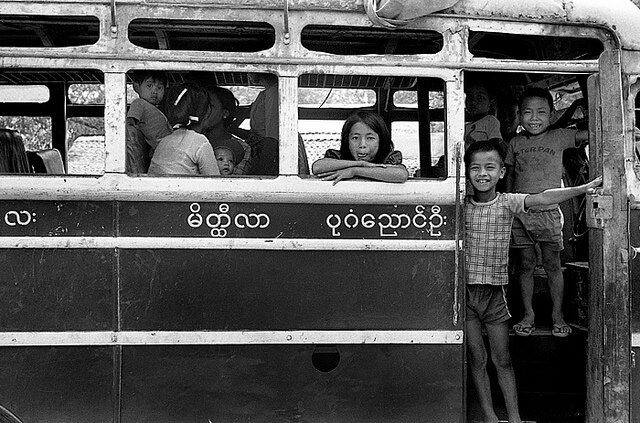 Burmese kids on a bus 1980. They are somewhere between Mandalay and Pagan/Nyaung-U.