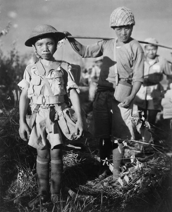 A 10 year old Chinese Soldier at Myitkyina airfield 1944