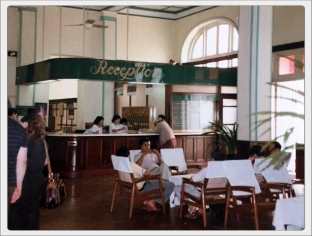 The lobby of the Strand Hotel in Rangoon 1986