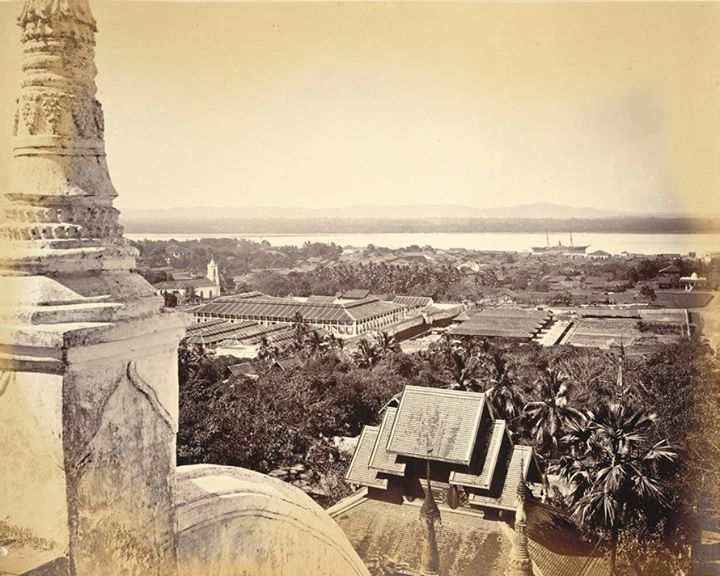 Moulmein (Mawlamyine) 1872, with the prison in the foreground.