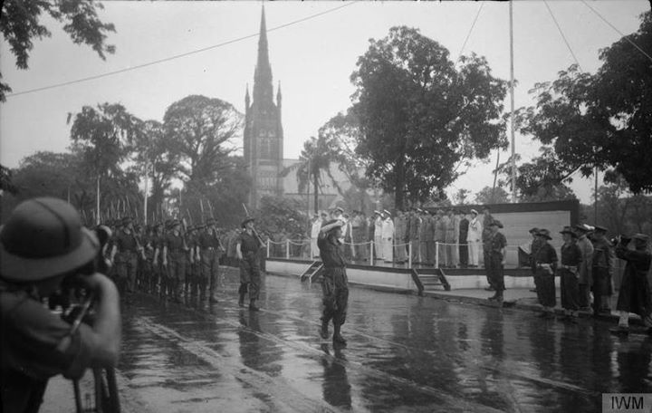 Allied Forces Holding a Victory Parade Along Shwedagon Pagoda Road