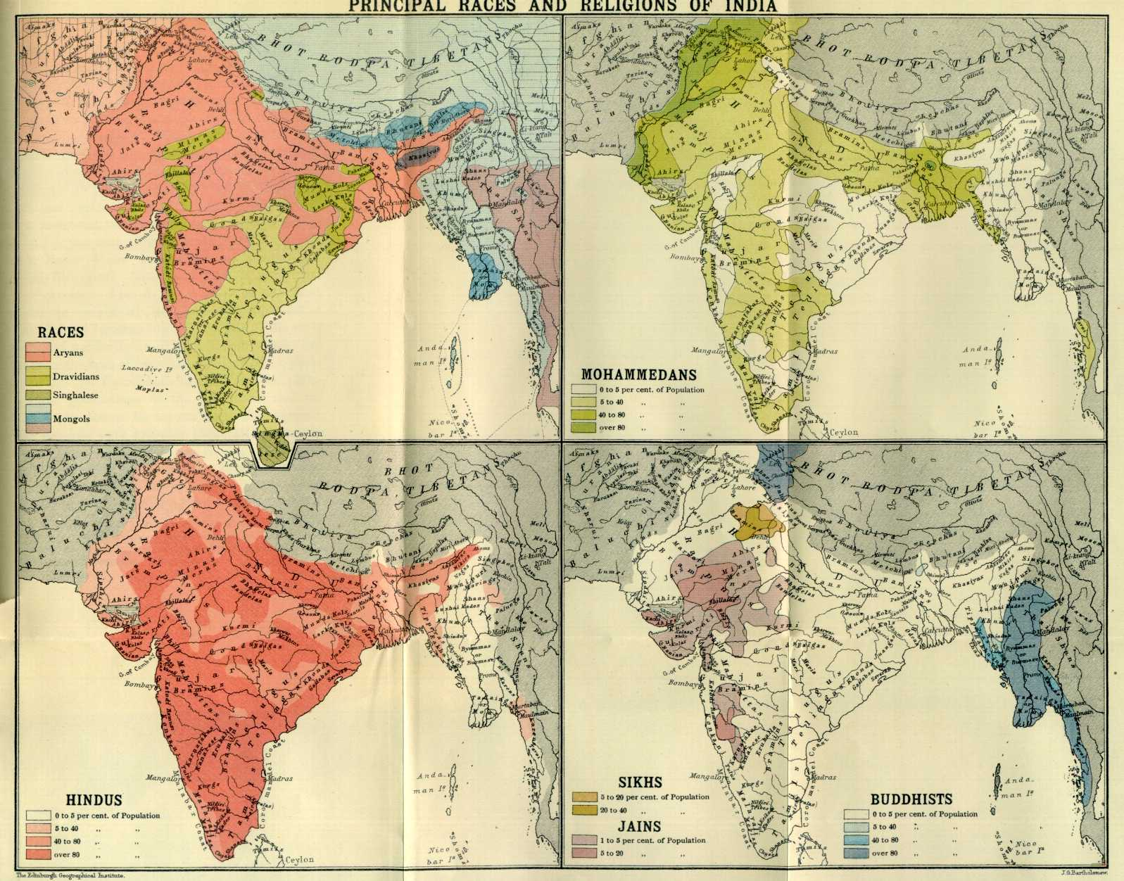 "How the British viewed race and religion in their Indian Empire c. 1901.  (the ""Burmans"" are classed as a kind of ""Mongol"" in light blue)."
