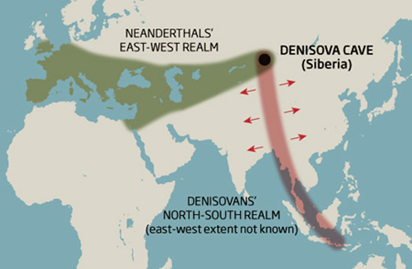 A map showing the spread of Neanderthal and Denisovan populations.