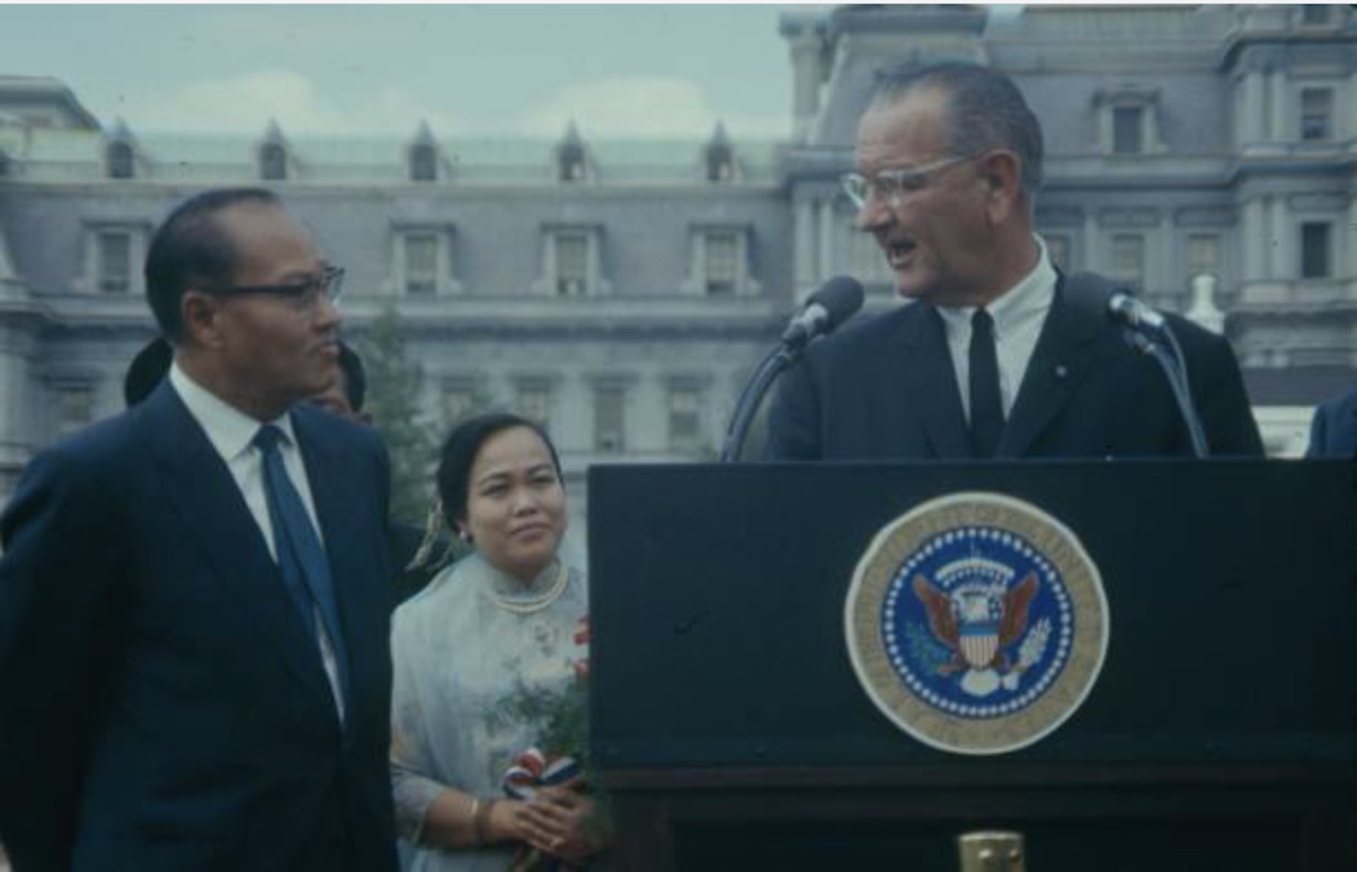 General Ne Win and President Lyndon Johnson at the White House, 1966.