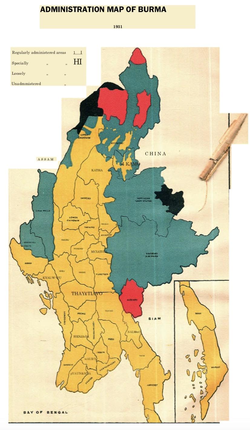 ၁၉၃၁ က ဗြိတိသျှတို့ ဖန်တီးခဲ့သည့် မြန်မာနိုင်ငံ မြေပုံ။ ၎င်းတို့ အုပ်ချုပ်ရာ ဒေသများကို အနီရောင်၊ အနက်ရောင် ချယ်သကာ ဖော်ပြထားသည်။